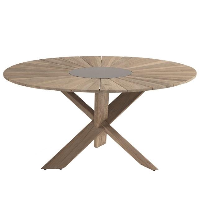 Hartman Provence crossleg tafel light grey teak 150cm