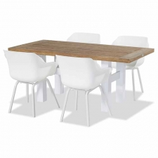 Hartman Sophie element royal white met Yasmani tafel vintage brown teak-white 180x95cm