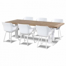 Hartman Sophie element royal white met Yasmani tafel vintage brown teak-royal white 240x100cm