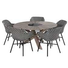 Hartman Delphine dining met Provence crossleg teak tafel Ø150cm