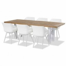 Hartman Sophie studio royal white met Yasmani tafel vintage brown teak-royal white 240x100cm