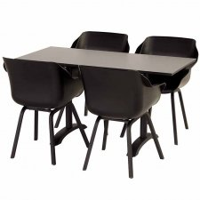 Hartman Sophie element carbon black met klaptafel HPL-carbon black 138x68cm
